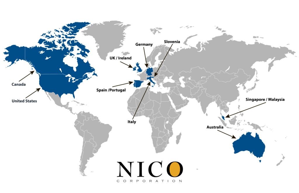 NICO global distribution world map 2021